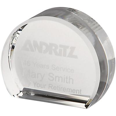 Image of 6cm x 7.5cm Optical Crystal Stand Up Circle Award