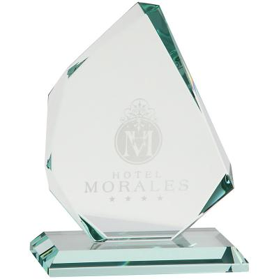 Image of 15cm x 12.5cm x 15mm Jade Glass Facetted Ice Peak Award